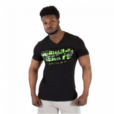 SACRAMENTO V-NECK T-SHIRT (BLACK/NEON LIME) [XL]