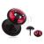 Acél fake plug a fülbe - ülő, fekete cica, piros háttér