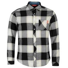Kickers Flannel férfi hosszú pamut ing fekete kockás XXL
