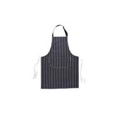 (S855) Csíkos szakácskötény zsebbel, sötétkék/fehér csíkos