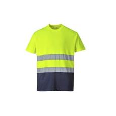 (S173) Pamut jól láthatósági póló sárga-sötétkék