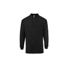 (FR10) Lángálló, antisztatikus teniszpóló fekete