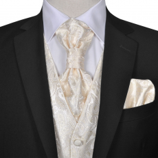 Férfi Praisley esküvői mellény szett méret 48 krém szín