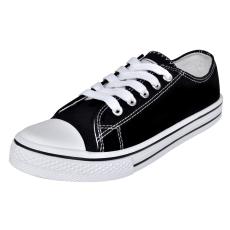 Klasszikus női alacsony szárú fűzős vászon tornacipő méret 37 fekete