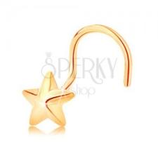 585 arany ívelt orrpiercing - ötágú csillag fényes felszínnel testékszer