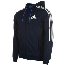 Adidas 3 Stripe férfi kapucnis cipzáras pulóver fehér S