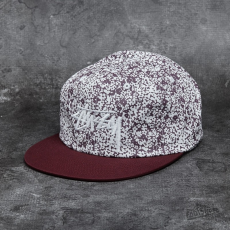 STUSSY Flower Crown Strapback Cap Burgundy