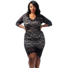 Fekete plus size Overlay csipkés midi ruha