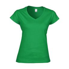 GILDAN női v-nyaku Softstyle póló, írzöld