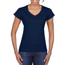 GILDAN női v-nyaku Softstyle póló, sötétkék