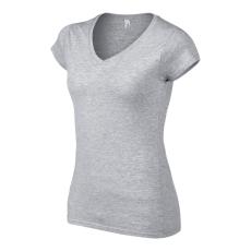 GILDAN női v-nyaku Softstyle póló, sportszürke