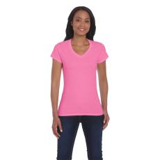 GILDAN női v-nyaku Softstyle póló, azalea