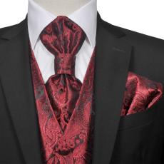 Férfi Praisley esküvői mellény szett méret 56 burgundi bőr szín