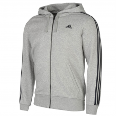 Adidas Essentials 3 Stripe Logo férfi kapucnis pulóver szürke M
