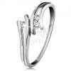 585 arany gyűrű gyémánttal, három átlátszó briliáns, szétválasztott szárak, fehér aranyból