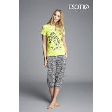 esotiq Feliratos női pizsama Kita 33002-71X 33005-71X sárga/fekete