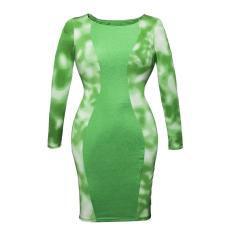 Zöld-fehér mintás hosszú ujjú ruha - Egy méret