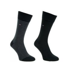 Tommy Hilfiger magasszárú zokni TH Men Small Stripe Sock 2P, férfi, fekete, pamut, 39-42