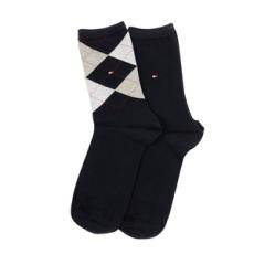 Tommy Hilfiger magasszárú zokni TH Women Check Sock 2P, női, kék, pamut, 35-38