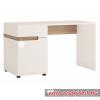 PC asztal, fehér - extra magas fényű HG/trufla sonoma tölgyfa, LYNATET 80 TÍPUS