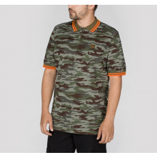 Alpha Industries TWIN STRIPE CAMO POLO - wood camo