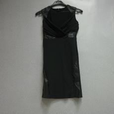 111 Fekete bőr betétes mini ruha - Egy méret