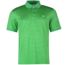 Dunlop Fine Stripe férfi galléros póló sötétzöld XXL