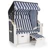 Blumfeldt Hiddensee, ülőhely strandra, strandkosár, XL, duplaszék, nyugágy, fenyőfa, kék/fehér, csíkos