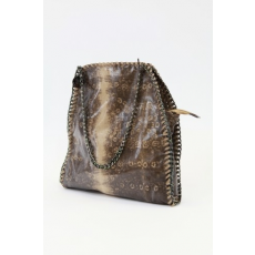 Barna-drapp színű lakk női táska
