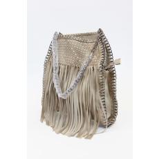 Bézs színű rojtos női táska