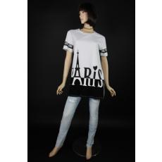 Paris felirattal női fehér-fekete női pamut felső
