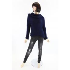 Kámzsanyaku, laza kötésű női  pulóver