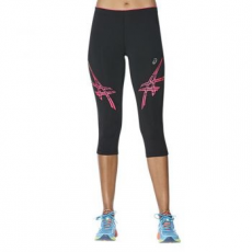 Asics Stripe Tight női futónadrág, Black/Pink, S (141231-0688-S)