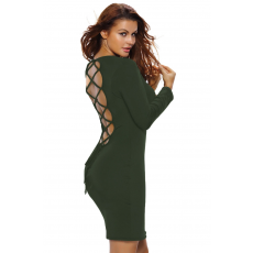 Army Green bodycon mini ruha