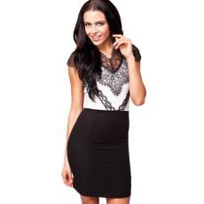 Eyelash Adorned fekete fehér bodycon ruha