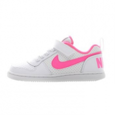 Nike Court Borough Low gyerek sportcipő, White/Pink Blast, 35 (870028-100-3y)