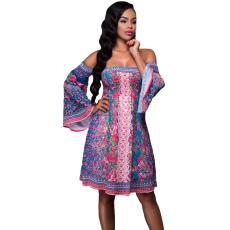 Kék pink boho dressz