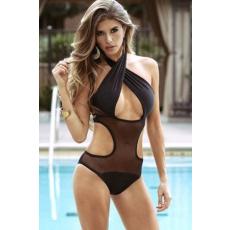 Fekete Hálós Egyrészes Bikini-Small