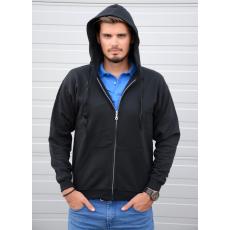 KEYA cipzáras-kapucnis pulóver, fekete (Keya cipzáras-kapucnis pulóver, 280g/m2, 50% pamut, 50%)