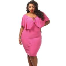 Rózsaszín plus size csipkés midi ruha