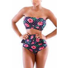Virág mintás Pöttyös Peplum Bikini
