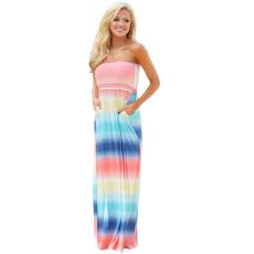 Csakcsajok Multi Tie Dye Strapless Maxi Boho Dress