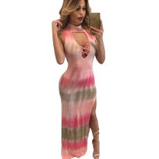 Csakcsajok Pink Tie Dye Print Sexy Cutout Maxi Dress