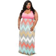 Csakcsajok Plus Size Pink Top Multicolor Zigzag Maxi ruha