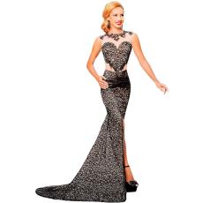 Csakcsajok Fekete csipkés glamour maxi ruha