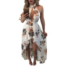Csakcsajok Fehér,virágos sexy maxi ruha