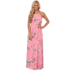 Csakcsajok Rózsaszín virágos holiday maxi ruha