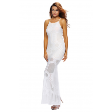 Fehér sleevless áttetsző maxi ruha