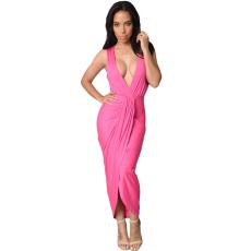 Rózsaszín mély kivágású maxi ruha