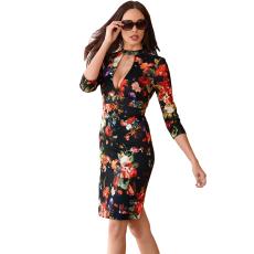 Virágos-fekete ruha